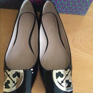 Tory Burch square toe black patent leather flats